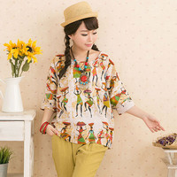 Artistic Printed Round Neck Loose Blouse
