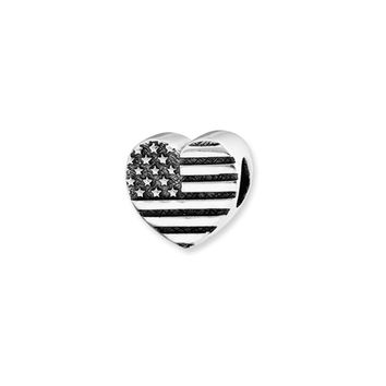 US Flag Heart Charm in Silver for 3mm Charm Bracelets