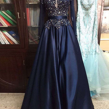 See Through Neck Prom Dress,Prom Dresses,Long Evening Dress