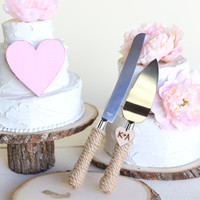 Personalized Rustic Wedding Cake Knife Serving Set (Item Number 140343)NEW ITEM