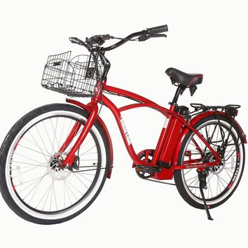 X-Treme Newport Elite 24 Volt Electric Beach Cruiser Bicycle Bike Metallic Red