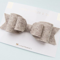 Oversized large 100% wool felt bow hair clip!!! In Mother Rabbit, Can be made in any colour!!