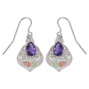 Black Hills Gold Sterling Silver Pear Amethyst Earrings