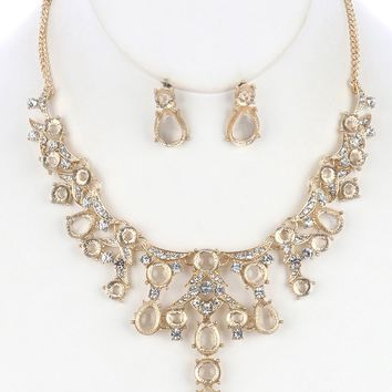 Clear Lucite And Crystal Stone Metal Bib Necklace And Earring Set