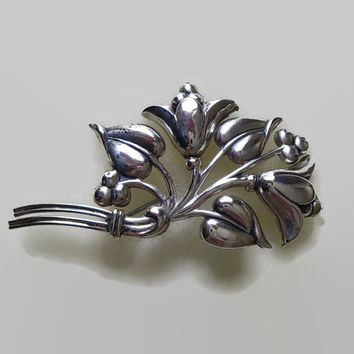 Vintage Sterlingcraft by Coro Brooch, Floral Bouquet, Sterling Silver, Flowers Leaves & Berries Pin, Nouveauesque