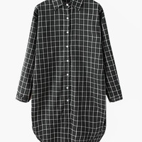 Black White Long Boyfriend Fit Cotton Plaid Blouse