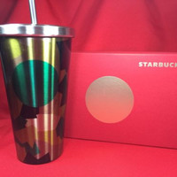 NEW Starbucks Camo Cold Cup Tumbler Grande 16 oz with Box 2014 Dot Collection