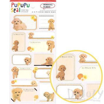 Toy Poodle Puppy Dog Glossy Photo Label Index Sticker Seals | Cute Animal Inspired Scrapbook Decorating Supplies