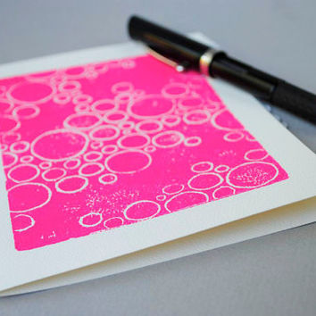 Pink Bubbles Notecard Magenta Circle Blank Card 5 by CursiveArts