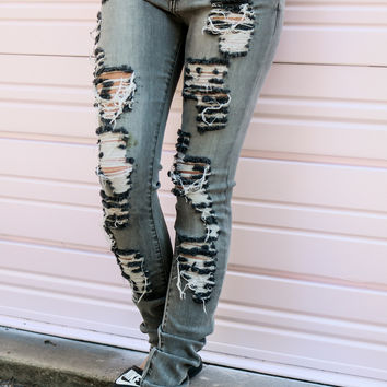 Lunar Rising Gray Ultra Distressed Ripped Skinny Jeans