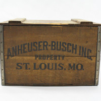 Vintage Wooden Anheuser-Busch Co. Wooden Crate With Certificate / Beer Crate / Industrial