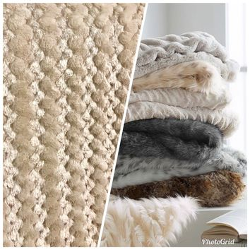 Designer Luxury Faux Fur Plush Fabric- Beige And Shell- Sold By The Yard