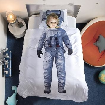 New Brand 3D Children Bedding set Astronaut Captain Bed duvet cover White Color Twin/Full/Queen Size 3pcs For Boys gift