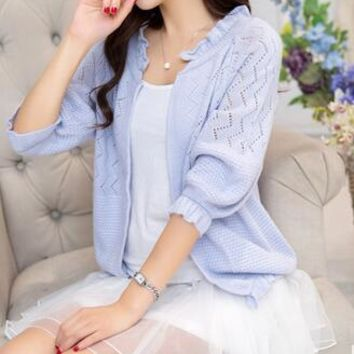 Women's cardigan sweater female short style spring summer thin sweater small shawl air-conditioned knit cardigan sweater