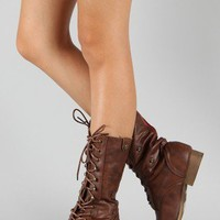 Bamboo Surprise-01 Military Lace Up Boot