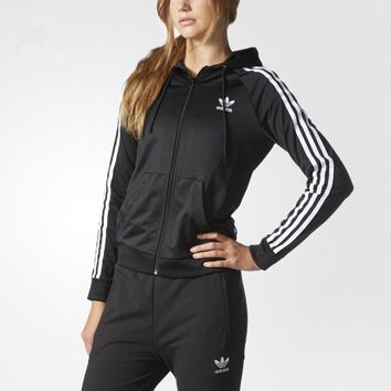 Adidas Three Stripe Zip Front Hoodie Jacket Pants Sweatpants Set Two-Piece Sportswear