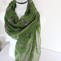 Green Zebra scarf, Green zebra pareos, Animal patterned shawl, Oversized shawls, Women's fashion, Women's accessories, Natural cotton fabric