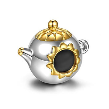 NinaQueen® *Tea Time* 925 Sterling Silver Gold Plated Charms Fits Pandora Bracelet, RuralStyle Cute Teapot Charms