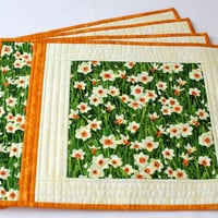 Quilted Easter Placemats, Daffodil Table Mats, Floral Fabric Place Mats, Green White Orange, Set of 4 placemats, Quiltsy Handmade