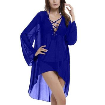 PEAPGC3 Sexy Beach Cover Up Sumemr Long Tassel Beach Cardigan Swim suit Printed Bathing Suit Cover Ups Pareo Beach Tunic Cover-Ups