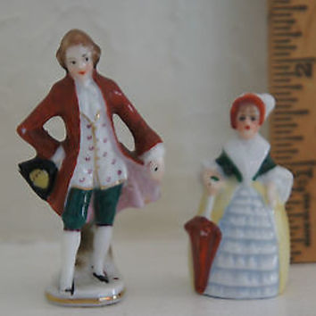 German Porcelain Figurines Victorian Lady & Gentlemen in White Red & Yellow