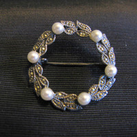 Silver 925 Marcasite Jewelry, Brooch Pearl Wreath Vintage