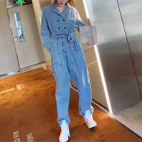 """""""Gucci"""" Women's Leisure Fashion Letter Print Long Sleeve Long Trousers Siamese Trousers Two-Piece Casual Wear"""