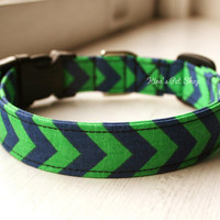 Handmade Dog/Cat Collar - Navy & Green Chevron Dog Collar Adjustable Buckle Dog Accessory Pet Accessories Breakaway Cat Collar Fabric Collar