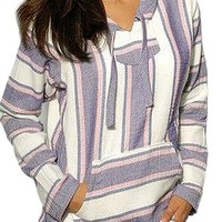 Mexican Baja Hoodie Sweater Jerga Pullover Lavender Pink White