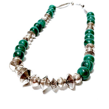 Navajo Sterling Malachite Necklace, Native American, Sterling Silver Bead Necklace, Multi Size, Single Strand, Malachite Beads, Vintage 1970