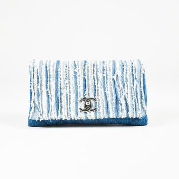 "Chanel $3400 Blue Quilted Denim & Frayed Trim ""Flap"" Shoulder Bag"