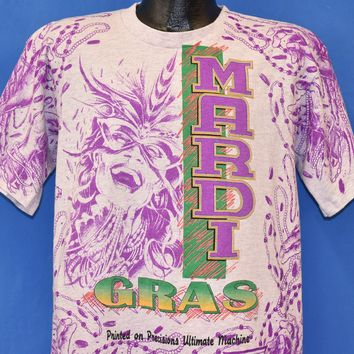 643fc8f0 90s Mardi Gras Beads All Over Print t-shirt Large