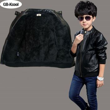 Children Boys Coat 2016 Children's Jacket Leather Fashion Baby Boy Spring Winter Coat Korean Boys PU Jackets Fit 3 ~15 Years Old