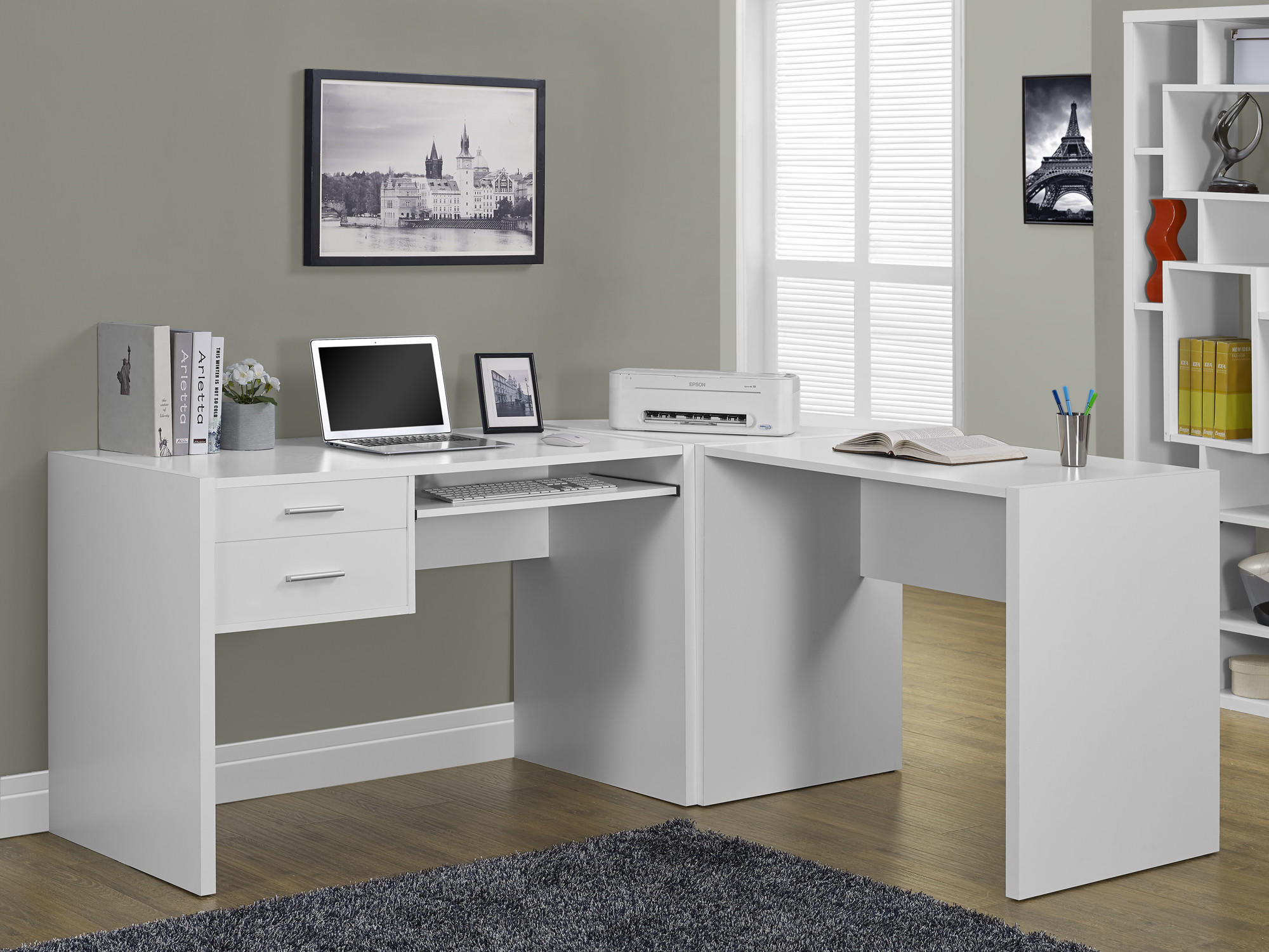 white hollow core computer desk from michael anthony furniture. Black Bedroom Furniture Sets. Home Design Ideas