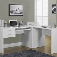 White Hollow-Core 3Pc Computer Desk Set