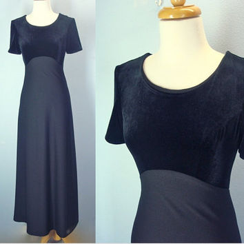 Vintage 70s Maxi Dress, Black Velvet Dress, Little Black Dress, Holiday Party Dress, S XS