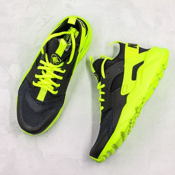 Nike Air Huarache Black Green Running Shoes - Best Deal Online