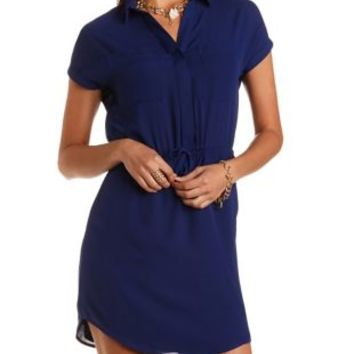 Drawstring Chiffon Shirt Dress by Charlotte Russe