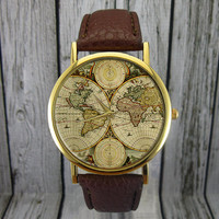 Vintage World Map Watch | Retro | Cartography | Leather Watch | Ladies Watch | Men's Watch | Gift Idea | Custom Watch | Fashion Accessory