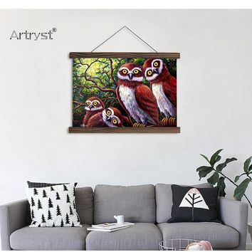 Owl Family Scroll Canvas Painting For Wall Decor