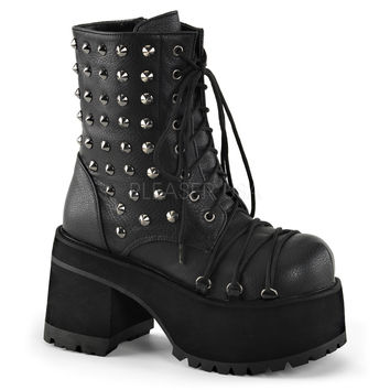 Demonia Studded Ranger Ankle Boots