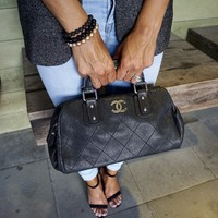 CHANEL Black Caviar Satchel Bag