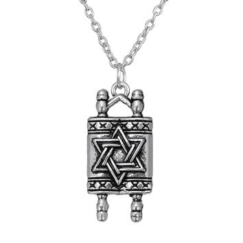 Dawapara Jewish Hebrew Sefer Torah Scroll Religious Men Pendant Necklace Women With Star Of David