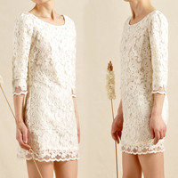 Women Beige Lace 3/4 Sleeve Dresses Sexy Slim Wedding Party Dresses Special Occasion Above Knee Dresses