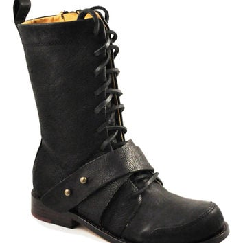 Gee Wa Wa Marla Goat Leather Military Vibe Edgy Calf 8 Black Boots (Small/Indie Brands)