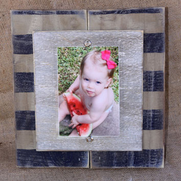 Handmade distressed plank picture frame for 5x7 photo; blue and khaki striped planks with distressed silver wood mat