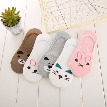 Ixuejie 5pair/lot 2017 Fashion Design Women Cute Socks Bunny Cat Bear Slippers Invisible Candy Color Socks