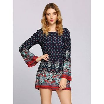 Long Sleeve Bell Sleeve Print Boho Styles Dress