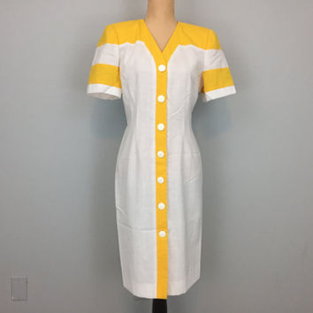 Summer Day Dress Color Block Dress Fitted Short Sleeve Button Up Dress Bright Yellow Lemon Collarless Size 8 Dress Medium Womens Clothing