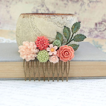 Flower Hair Comb Floral Collage Wedding Hair Accessories Green Patina Leaf Branch Coral Peach Rose Pink Chrysanthemum Daisy Dahlia Leaves